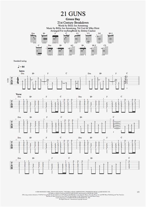 21 Guns by Green Day - Guitar/Vocals Guitar Pro Tab
