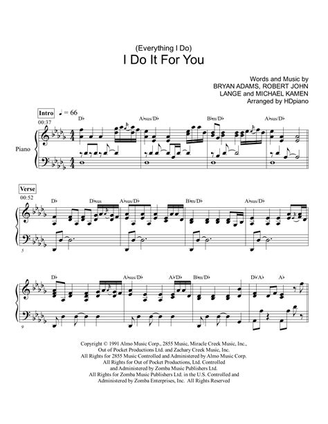 Everything I Do (I Do It for You) | Sheet Music Direct