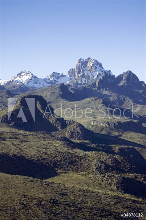 Aerial of Mount Kenya, Africa and snow in January, the